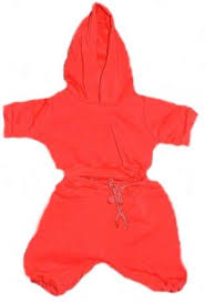 red sweat suit