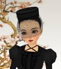 black veiled hat