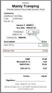 fee invoice