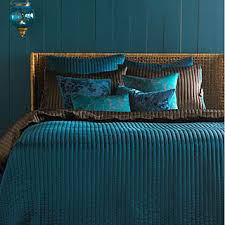 teal and brown comforter
