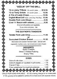 british restaurant menu