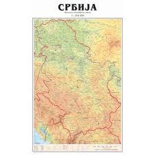 fizicko geografska karta srbije