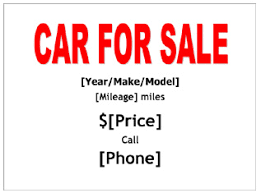 for sale sign for car