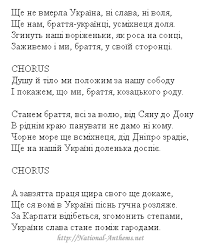 National Anthem - Ukraine Anthem Text