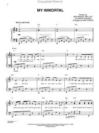 my immortal piano sheet