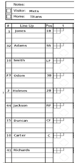 baseball line up sheets