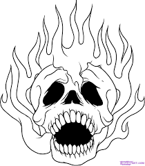 how to draw skulls on fire