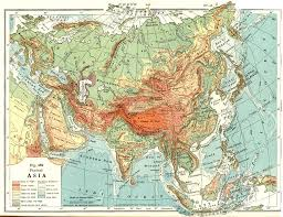 physical map of asia with rivers