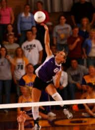 hitting volleyball