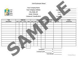 cost estimate sheet