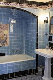 chocolate brown and blue bathroom