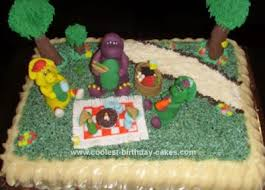barney cake decorating