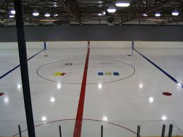 Hockey rinks are slippery. this is because they have a lot less friction then normal surfaces like carpet of concrete. this allows the puck to slide on the ice better.