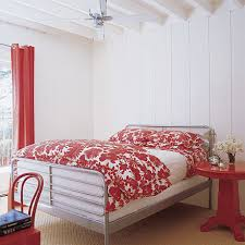red bedroom curtains