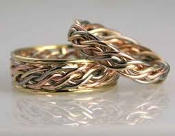 red gold wedding bands