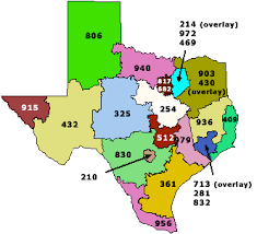 texas area code map
