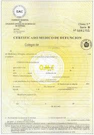certificado de fallecimiento