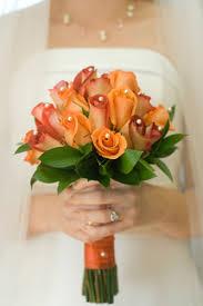 orange rose wedding bouquets