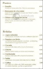 menu bebidas