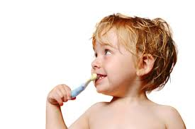 baby brushing teeth