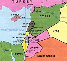 map of israel and lebanon