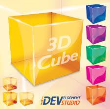 3d glass cube