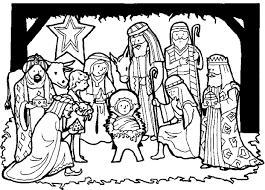 nativity scene colouring page