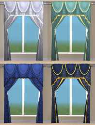 blue damask curtains