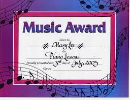 music award certificate