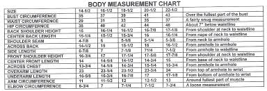 body measurements charts