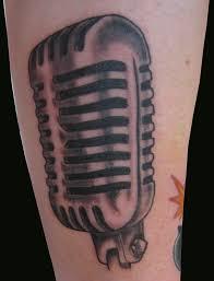 old microphone tattoo