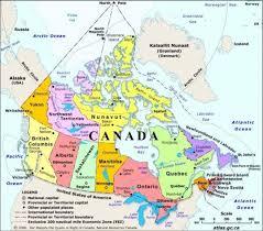 mapa geografico de canada