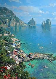 Capri: panoráma a Faraglioni-ra