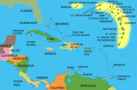 map of the caribbean and mexico