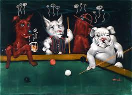 dogs playing pool art