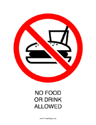 no food or drink allowed signs