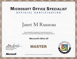 microsoft office specialist certificate