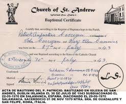 fe de bautismo