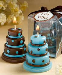 blue and brown wedding favors