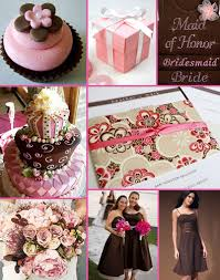 chocolate brown and pink wedding