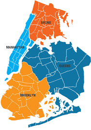 map of 5 boroughs of nyc