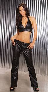 ladies in leather pants