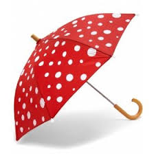 red polka dot umbrella