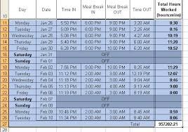 sample timesheet