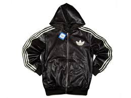 adidas black leather jacket
