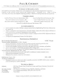 system administration resume