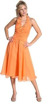 short orange prom dress