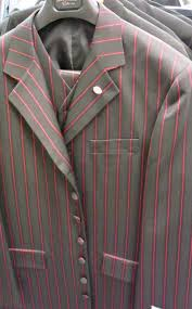 black and red pinstripe suit