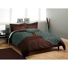 brown and teal comforter