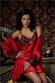 red satin nightgown